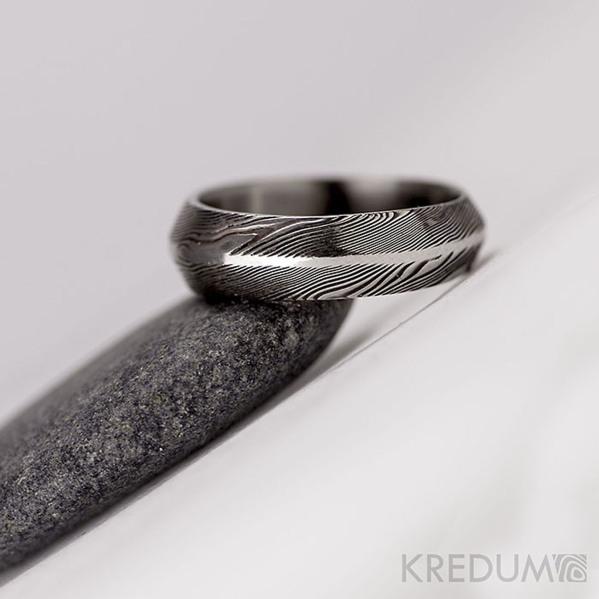 Snubní prsten nerezová ocel damasteel - Steel line - dřevo