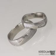 Kovaný prsten damasteel -  Round square, dřevo - typ soudek
