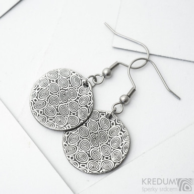 Mikilion - Kované dámské vysací kulaté náušnice z nerez oceli damasteel - vzor kolečka zatmavené - SK3748