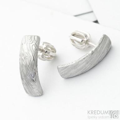 Kované naušnice z nerez oceli damasteel - Moon, voda - produkt Sk 3710