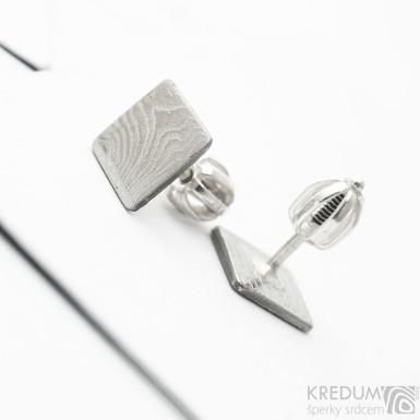 Kované čtvercové šroubovací náušnice z nerez oceli damasteel - Quatro mini, SK3752