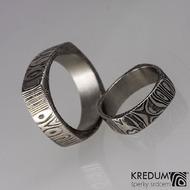 Kovaný prsten damasteel -  Round square, kolečka