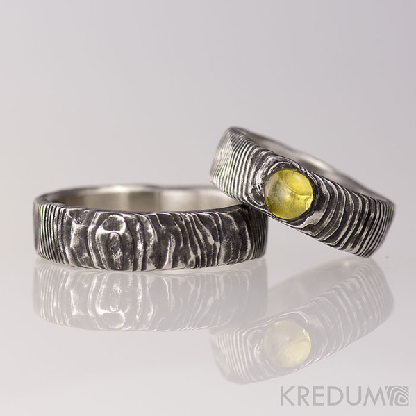 Snubní prsten nerezová ocel damasteel - Natura a kámen naturál