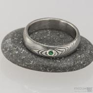Zásnubní prsten damasteel - Prima a broušený kámen vel. do 2 mm ve stříbře