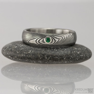Zásnubní prsten damasteel - Prima a broušený kámen vel. do 2 mm ve stříbře - zelený zirkon