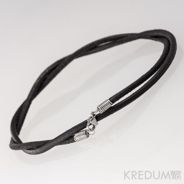 Kulatá kožená šňůrka 3 mm s nerezovým zapínáním - černá