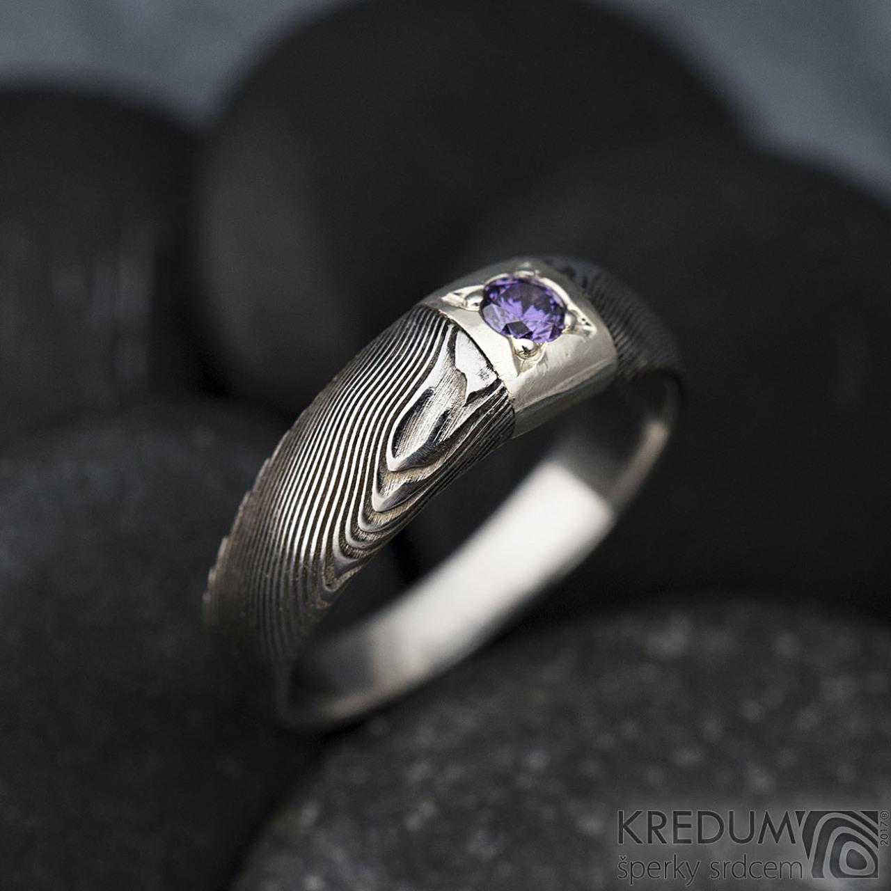 Siona Space S Cirym Diamantem O Prumeru 3 Mm Damasteel Prsten