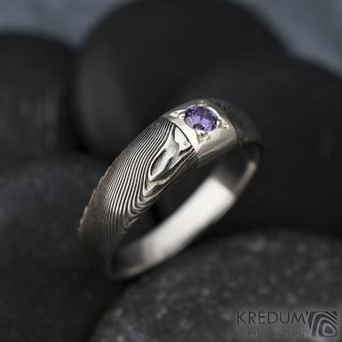 Prima Space se zirkonem 3 mm - velikost 55, čířka hlavy 5,5 mm do dlaně 3,2 mm, tloušťka 1 - 2,6, dřevo 75TM - Damasteel zásnubní prsten, SK1635 (5)