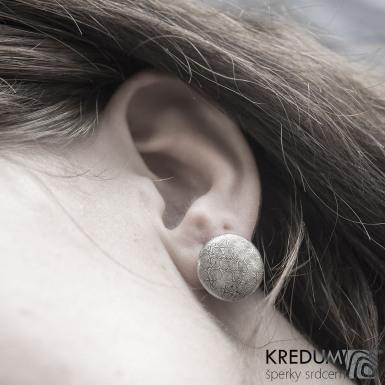 Puklík - Kované damasteel náušnice