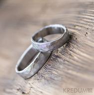 Snubní prsten nerezová ocel damasteel - Natura white - struktura dřevo