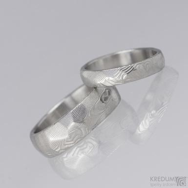 Snubní prsten damasteel - Rocksteel - dřevo světlé
