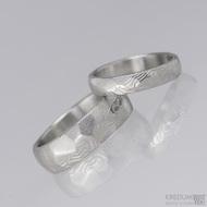 Snubní prsten damasteel Rocksteel - dřevo světlé