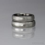 Snubní prsten damasteel - Prima DUO, oba struktura čárky, světlé