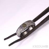 Snubní prsten nerezová ocel damasteel - Prima a vltavín, struktura dřevo