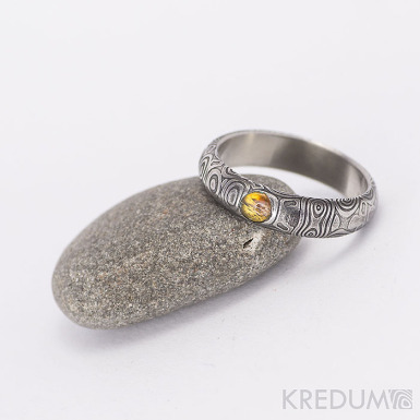 Snubní prsten nerezová ocel damasteel - Prima a kámen naturál, kolečka