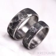 Snubní prsten nerezová ocel damasteel - Natura line - struktura dřevo