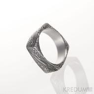 Kovaný prsten damasteel - Kumali - voda,lept 100% tmavý
