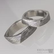 Kovaný prsten damasteel - Kumali - voda, lept 75% tmavý