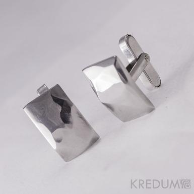 Kované nerezové manžetové knoflíky - Skalák