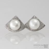 Kované damasteel naušnice a perly - Raníčky - kolečka