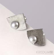 Kované damasteel naušnice a perly - Raníčky - dřevo
