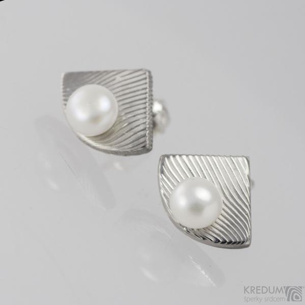 Kované damasteel naušnice a perly - Raníčky, produkt č.1408