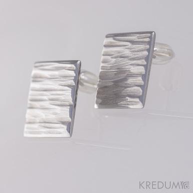 Kované nerezové naušnice - Quatro line