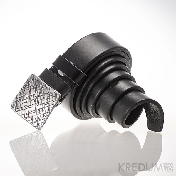 Kovaná nerez spona 3 cm - Kavalír 3X - Mřížka a kožený černý pásek