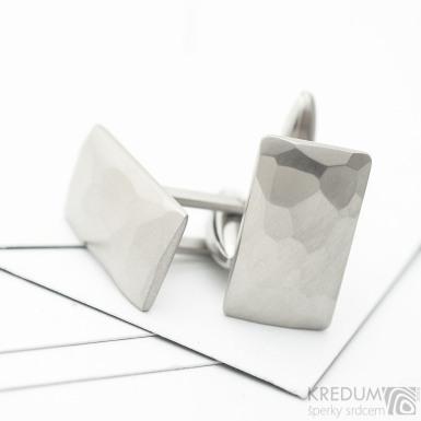 Obdélníkové nerezové manžetové knoflíčky, matné - Desk