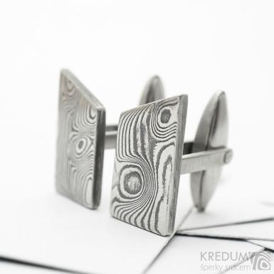 Kované manžetové knoflíčky z nerez oceli damasteel - Desk, zatmavené