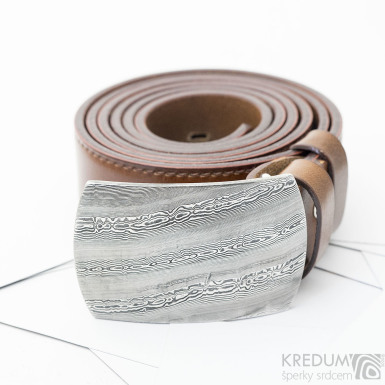 Gentleman 3,5X - Kožený opasek s kovanou sponou nerez damasteel, SK3701