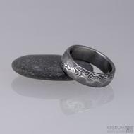 Snubní prsten damasteel Rocksteel - dřevo tmavé - velikost prstenu 55, šíře cca 6 mm