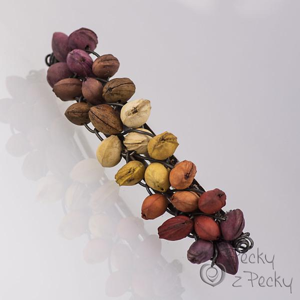 Podzimní duha - Spona do vlasů z třešňových pecek 8 cm