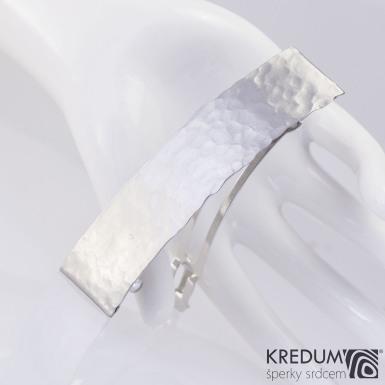 Linka draill matná - základ 8 cm, šířka 2 cm - Tepaná nerezová spona do vlasů