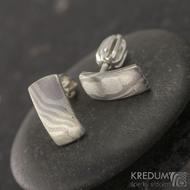 Náušnice - Mokume Moon - palladium a stříbro