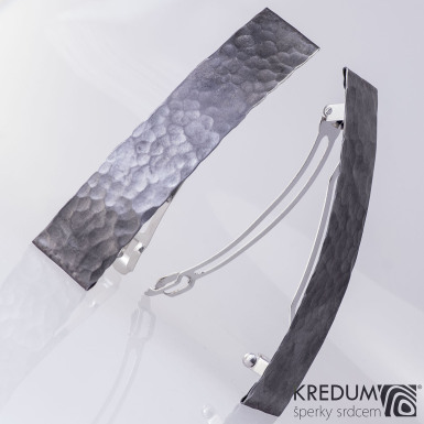 Linka draill tmavá - základ 10 cm, šíře 2 cm - Nerezová spona do vlasů