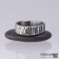 Kovaný nerezový snubní prsten - Wood a kámen natural
