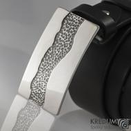 Kovaná nerez spona a kožený pásek 4cm - River