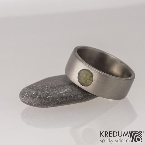Prsten kovaný - Klasik titan a kámen - matný