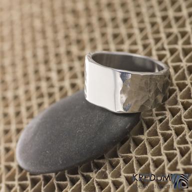 Design nerezový snubní prsten - Klín, velikost 54
