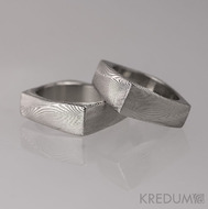 Kovaný snubní prsten damasteel - Rhino - dřevo