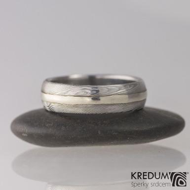 Snubní prsten damasteel a zlato - Duori white, struktura dřevo