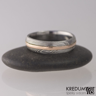 Duori red - dřevo - Snubní prsten damasteel a zlato
