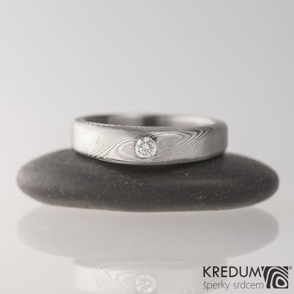 Kovaný prsten damasteel a diamant 2,70mm - Siona white - dřevo, velikost 53