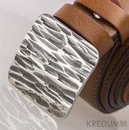 Kovaná nerez spona 3 cm - Kavalír 3X - Kant a světle hnědý kožený pásek s prošitím