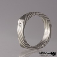 Zásnubní prsten Mokume Gane - stříbro, palladium+diamant 1,7 mm