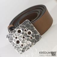Kovaná nerez spona a kožený opasek 3,5cm - Hole, produkt č. 2023