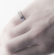 Mokume Gane - stříbro, palladium a diamant 2mm
