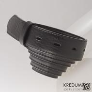 Kožený pásek 3X s prošitím - barva černá