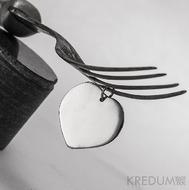 Kovaný přívěsek damasteel - Srdíčko a diamant 2,3 - kolečka světlá
